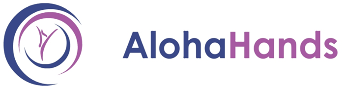 Aloha Hands Logo; An up-side-down capital a surrounded by 3 crescents forming a circle
